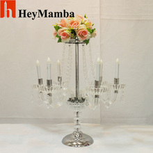 10pcs/lot 6 Arms Acrylic Crystal Candelabras Metal Candle Holder Stand For Wedding Centerpiece Flower Racks Candlestick H/65cm