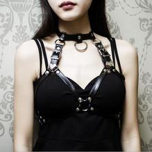 Sexy Women Belts Punk Rock Halterneck Choker Gothic Leather Harness Body Bondage Cage Bustier Corset Sculpting Chest Waist Belt(China)