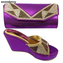 New Purple Color Women Shoe and Bag Set To Match for Parties Nigerian Shoes and Bag Set for Women Italy Shoes and Bag Set 2017(China)