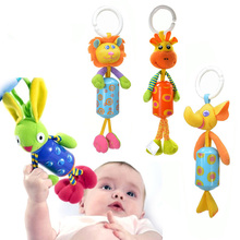 Baby Crib Stroller Rattle Toy Cartoon Animals Plush Infant Hanging Rattle Ring Bell Bed Pram Baby Stroller Accessories