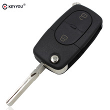 KEYYOU Flip Folding Remote Key Shell Cover Fob For Audi A2 A3 A4 A6 A8 TT Uncut Fob Case 2 Buttons