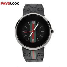 Glass Quartz Watch Unisex Green & Red Stripes Scale Silicone Watches No Number Plate Band Wrist Watch