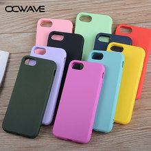 OCWAVE Silicone case for iPhone 8 Plus 7 Plus soft TPU material bright candy colorful design shock resistance covers(China)