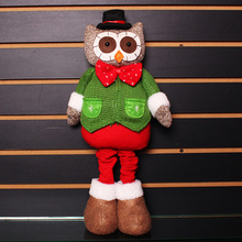Creative Christmas Doll Owl Standing Telescopic Old Furnishing Decoration Items Christmas  Party Holiday DIY Home Decorations