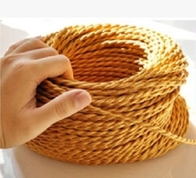 Outlet 100meters gold VDE certified 2 core Vintage Textile Electrical Wire Color twisted Wire Fabric Cable Vintage Power Cord(China)
