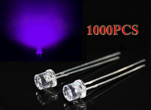 1000 unids 3 mm UV Purple DIP superior plana llevó 2 pins gran angular Clear lámpara de luz LED