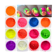 1 Bottle 13 Colors Summer Neon Effect Designs Nail Art Fluorescent Glitter Powder Dust Tips 3D Fine Pigment Nail Decor TRYE01-13