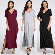 Buy Plus Size S-3XL 2018 Women Sexy Long Dresses Summer Shirt Dress Ladies Short Sleeve V Neck Solid Side Split Shift Maxi Vestidos for $11.99 in AliExpress store
