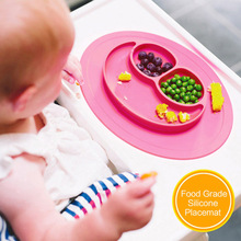 Smile Mini Size 1 pc Baby Silicone Placemat Divided Dish Bowl Plates Food Grade Silicone Placemats Kids Suction to Dining Table