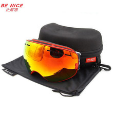 Benice brand snowboard goggles double anti-fog UV400 big motocross mask eyewear with original box esqui outdoor snow ski glasses