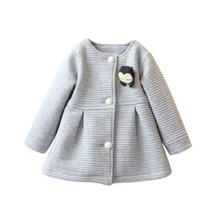 Spring Autumn Children Jackets Baby Little Penguin Single Breasted Child Coat Girl Outerwear Jackets For Girls Bow Girl Clothes