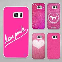 Pink sugar glitter Hard White Coque Shell Case Cover Phone Cases for Samsung Galaxy S4 S5 S6 S7 Edge Plus