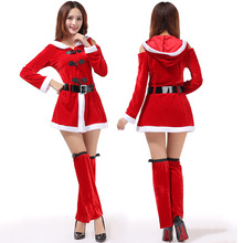 New Adult Christmas Dress Game Play Costume Female Santa Claus Cosplay Costume Exotic Clothes Cosplay Disfraces Pleuche S76CK8