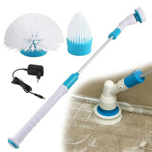 Portable Bathroom Cleaning Spin Scrubber Auto Household Wall Window Cleaner Washing Brush Tool  With 3 Replaceable Brush Head