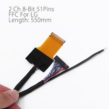 FFC LVDS Cable 2 ch 8-bit 51 pins 51pin dual 8 cable flexible flat cable For LED panel V400HJ6-PE1 550mm Universal LCD Controlle
