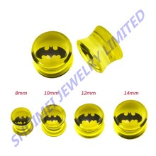 SHUIMEI Pair of Awesome Batman Transparent UV Acrylic Ear Plugs Taper Tunnels 8mm,10mm,12mm,14mm Piercing Body Jewelry