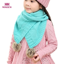 Kids Autumn Winter Warm Woolen Scarf Baby Bibs Knitted Long Neckerchief Wrap Shawl Scarf with Balls Warmer Boy Gilrl Burp Cloths(China)