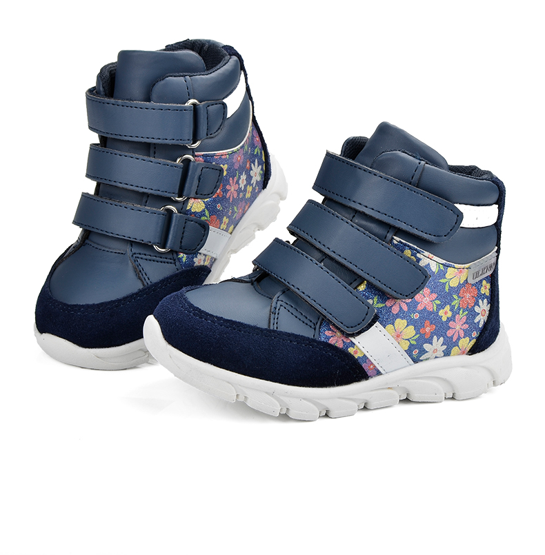 ULKNN Children Shoes For Girls Sneakers Massage Running Sport Shoes Genuine Leather Kids Sneakers Print Fashion Blue Size 20-25 (1)