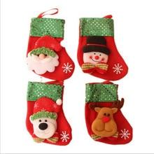 4pcslot christmas decoration small socks christmas gift small christmas stocking gift bag candy bag free shipping - Small Christmas Stockings