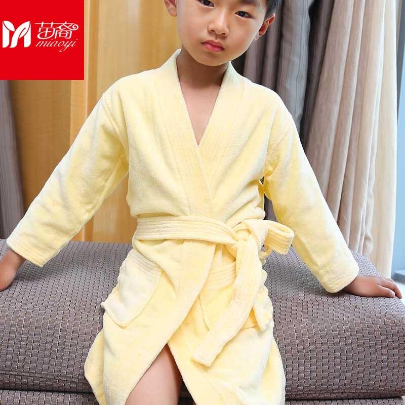 Miaoyi 2018 New Style Cotton towel bathrobe Kimono thick yellow cotton four-color cotton quality plush bathrobe<br>