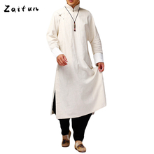 Buy ZAITUN Men One Piece Super Long Linen Shirt Traditional Chinese Kung fu Linen Shirt Solid Color Spring Casual Shirts Linen Men for $90.58 in AliExpress store