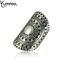 Yumfeel Vintage Silver Plated Boho Rings Unique Carving Punk Style Big Cocktail Armor Rings for Woman Jewelry Gifts(China)