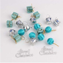 Pretty 24Pcs/pack lake blue Christmas pendant accessories Christmas tree decorations shopping mall Christmas pendant(China)