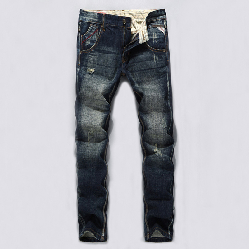 Nostalgia Retro Design Men Jeans Dark Color Classic Denim Frayed Hole Ripped Jeans For Men Casual Pants Slim Fit Biker JeansÎäåæäà è àêñåññóàðû<br><br>
