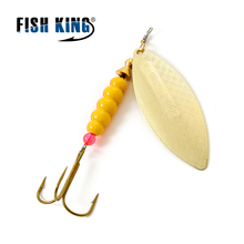 FISH KING Brand 1PC 1# 2# 3# 4# 5# Willow shaped Mepps Spinner Bait Fishing Lure Bass Hard Baits Spoon With Treble Hook Tackle(China)