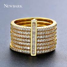 NEWBARK New One Stacking Ring Set Including 7Pcs Round Rings Nondetachable Inlaid CZ Stone Classic Fashion Women Jewelry(China)