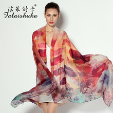 100% Natural Silk Scarves Women Fashion Printed Pure Silk Scarf Shawl Large Size 175cm x 110cm Sunscreen Shawls Fw216