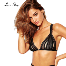 Laceshop 2017 New Fashion Women Solid Black Sexy Push Up Lace Cross Back Wireless Intimate Trim Underwear Soft Nets Bra Bralette