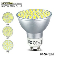 4Pcs New GU10 Dimmable Lamp Led Spotlight AC 110V 220V 2835 SMD 60 Leds 70Leds 80 Led Lamp High Bright White / Warm White Bulbs