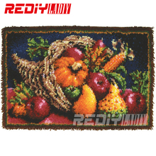 DIY Latch Hook Rug Kits Unfinished Crocheting Tapestry Yarn Needlework Cushion Set for Embroidery Carpet Harvest of Autumn Mat(China)