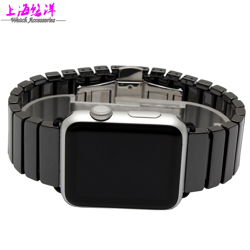 New arrivals link bracelet band for apple watch band high quality Space ceramic strap color white and black 38/42mm band<br>