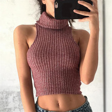 Spring winter Women sexy Crop Top Tank Top knitted sweater turtleneck high neck Gothic skater red off shoulder party Club top XL(China)