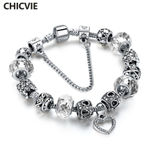 CHICVIE Diy Silver color Heart Charm Bracelets & Bangles Hot Sale Crystal Beads Bracelets For Women Vintage Jewelry SBR160267