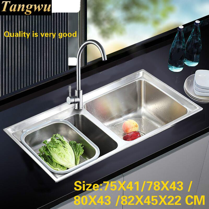 Tangwu High quality double groove multi-function stainless steel kitchen sink and faucet 75x41/78x43/80x43/82x45 CM(China)
