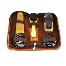 Portable Travel Leather Care Smooth Tool Wooden Handle Brushes Shoe Shine Polish Men Shoes Cleaning Kit With Storage Bag HG99(China)