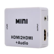 Original White Mini HDMI2HDMI Video Converter HDMI To HDMI Audio Adapter Support HD 720P 1080P For PC Laptop HDTV Projector