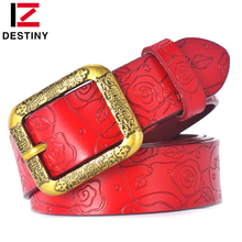 DESTINY Designer Belts Women High Quality Luxury Brand Ceinture Femme Casual Girls Lady Flower Belt Leather For Jeans Off White