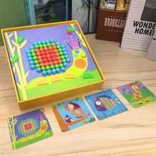 Wooden 3D Puzzles Art Mosaic Wood Board Mushroom nail puzzle Educational Toys For Children Montessori Materials Teaching Aids(China)