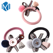 M MISM Women Ball Scrunchy Accessories Tassel Button Rubber Headband Kid Bow Ponytail Gum For Cartoon Rabbit Elastic Hair Band(China)