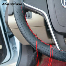 MALUOKASA 36/38/40CM Car Steering Cover DIY Steering Wheel Covers Soft Leather Braid Design With Needle and Thread Interior Kits(China)
