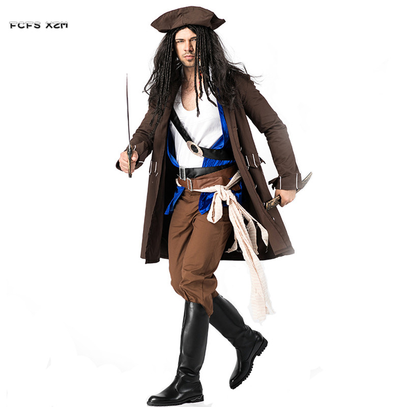 Pirates of the Caribbean Cosplays Men Halloween Jack Sparrow Costumes Carnival Purim Masquerade Stage play Nightclub party dress