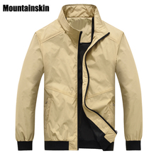 Mountainskin Spring Bomber Jackets Men Coats 4XL Casual Men's Windbreaker Solid Stand Collar Male Jackets Brand Clothing SA196