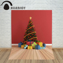 Allenjoy christmas photography backdrop Wooden stitching xmas tree present children's camera photocall photographic Customize(China)