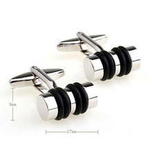 C-MAN Luxury shirt Black cufflink for mens Silver Brand cuff buttons cuff links High Quality Silver abotoaduras Jewelry