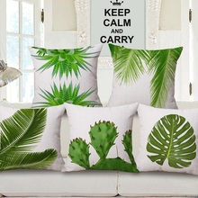Palm Tree Cushion Covers Cactus Green Leaf Good for Eye Protection Pillow Cases Thick Linen Cotton Bedroom Sofa Decoration