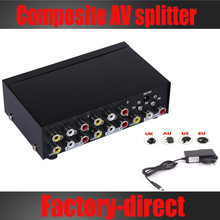 4-port composite RCA AV Splitter 1X4 CVBS audio video splitter distributor for TV,DVD player with power adapter